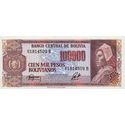 Bolivie - Pick 171a2 - 100'000 pesos bolivianos - Loi 1984 - Série B - Etat : NEUF