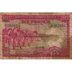 Congo Belge - Pick 14C - 10 francs - Série R - 10/02/1943 - Etat : B+
