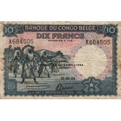 Congo Belge - Pick 14D - 10 francs - 10/06/1944 - Série X- Etat : TB-
