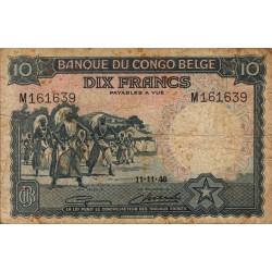 Congo Belge - Pick 14E - 10 francs - 11/11/1948 - Série M - Etat : TB-