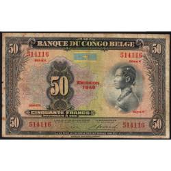 Congo Belge - Pick 16g - 50 francs - 1949 - Série K - Etat : TB-