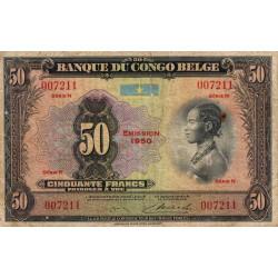 Congo Belge - Pick 16h - 50 francs - Série N - 1950 - Etat : TB-