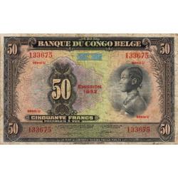 Congo Belge - Pick 16j - 50 francs - Série U - 1952 - Etat : TB-