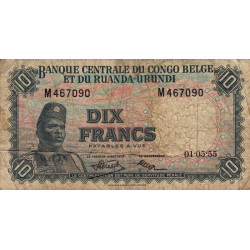 Congo Belge - Pick 30a - 10 francs - 01/05/1955 - Série M - Etat : B