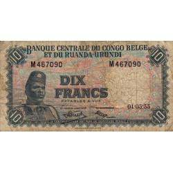 Congo Belge - Pick 30a - 10 francs - Série M - 01/05/1955 - Etat : B