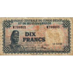 Congo Belge - Pick 30b - 10 francs - Série W - 15/12/1956 - Etat : TB-