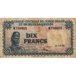 Congo Belge - Pick 30b1 - 10 francs - 01/06/1956 - Série W - Etat : TB-
