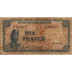 Congo Belge - Pick 30b2 - 10 francs - 01/06/1958 - Série AX - Etat : B-
