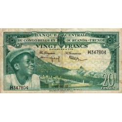Congo Belge - Pick 31 - 20 francs - Série H - 01/03/1957 - Etat : TTB