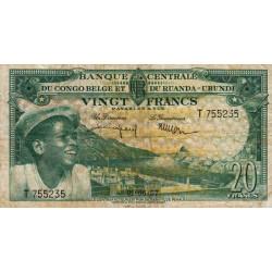 Congo Belge - Pick 31 - 20 francs - Série T - 01/06/1957 - Etat : TB