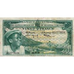 Congo Belge - Pick 31 - 20 francs - Série AG - 01/12/1957 - Etat : TTB-