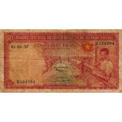 Congo Belge - Pick 32 - 50 francs - Série B - 01/04/1957 - Etat : B+