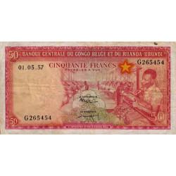 Congo Belge - Pick 32 - 50 francs - Série G - 01/05/1957 - Etat : TTB-