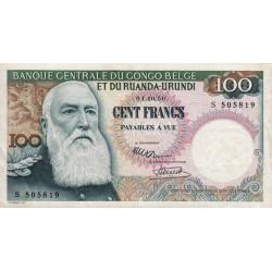 Congo Belge - Pick 33a - 100 francs - 01/10/1956 - Série S - Etat : TTB à TTB+