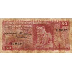 Rwanda et Burundi - Pick 4a - 50 francs - 15/09/1960 - Série E - Etat : TB- à TB