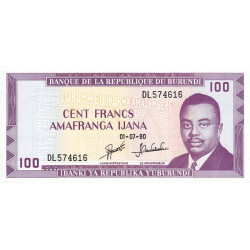 Burundi - Pick 29c_2 - 100 francs - Série DL - 01/07/1990 - Etat : NEUF