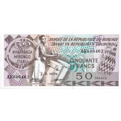 Burundi - Pick 28a_2 - 50 francs - Série AK - 01/05/1979 - Etat : NEUF