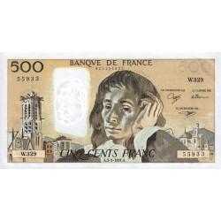 F 71-46 - 03/01/1991 - 500 francs - Pascal - Série W.329 - Variété taille-douce partielle - Etat : NEUF