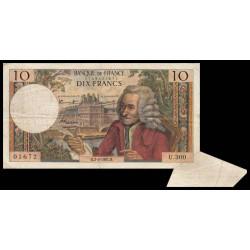 F 62-25 - 02/03/1967 - 10 francs - Voltaire - Série U.300 - Appendice de papier - Etat : TB+