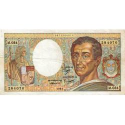 F 70-05 - 1985 - 200 francs - Montesquieu - Série M.034 - Sans taille-douce - Etat : TTB