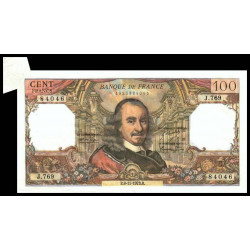 F 65-44 - 08/11/1973 - 100 francs - Corneille - Appendice de papier - Etat : TTB+