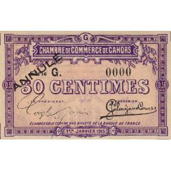 Cahors (Lot) - Pirot 35-13 - 50 centimes - Série G - 01/01/1915. - Annulé - Etat : NEUF