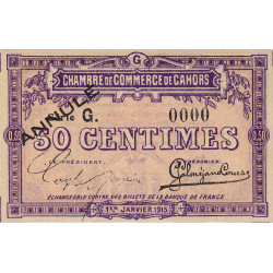 Cahors (Lot) - Pirot 35-13 - Série G - 50 centimes - Annulé - 1915 - Etat : NEUF