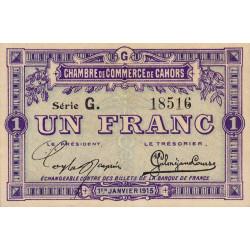 Cahors (Lot) - Pirot 35-14 - 1 franc - Série G. - 01/01/1915 - Etat : NEUF