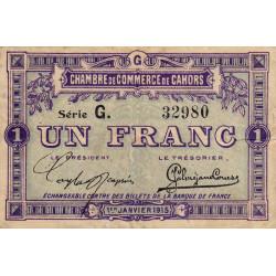 Cahors (Lot) - Pirot 35-14-G - 1 franc - 1915 - Etat : TB