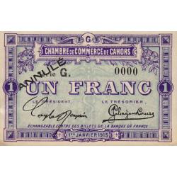 Cahors (Lot) - Pirot 35-15 - Série G - 1 franc - Annulé - 1915 - Etat : SPL