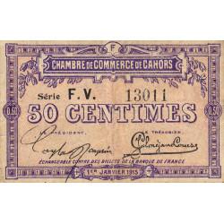 Cahors (Lot) - Pirot 35-16 - 50 centimes - Série F.V. - 01/01/1915 - Etat : B+