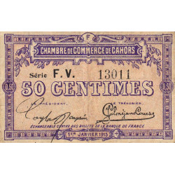 Cahors (Lot) - Pirot 35-16 - Série FV - 50 centimes - 1915 - Etat : B+
