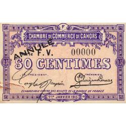 Cahors (Lot) - Pirot non répertorié - 50 centimes - Série F.V. - 01/01/1915. - Annulé - Etat : SUP+