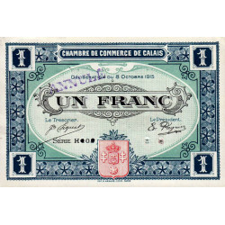 Calais - Pirot 36 non répertorié - 1 franc- Annulé - 1915 - Etat : SUP+ à SPL