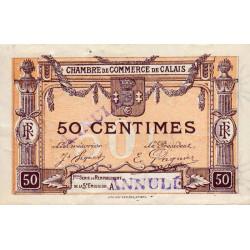 Calais - Pirot 36-34 - 50 centimes - Série A - Remplacement 5e émission (1919) - Annulé - Etat : SUP+ à SPL