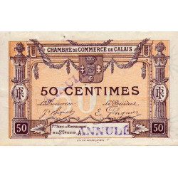 Calais - Pirot 36-34 - Série A - 50 centimes- Annulé - 1919 - Etat : SUP+ à SPL