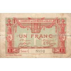 Calais - Pirot 36-41 - 1 franc - Série C - 7e émission (1919) - Etat : B+