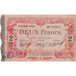 Cambrai - Pirot 37-13 variété 1 et 2 - 2 francs - 1e série - 15/09/1914 - Etat : TTB