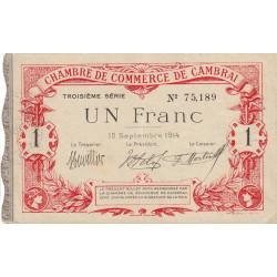 Cambrai - Pirot 37-21 - 1 franc - 1914 - Etat : TTB+