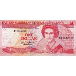 Est Caraïbes - Anguilla - Pick 21u - 1 dollar - 1988 - Etat : SUP