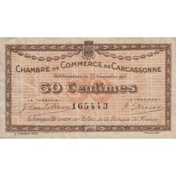 Carcassonne - Pirot 38-1 variété - 50 centimes - 1914 - Etat : TTB