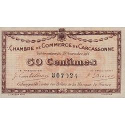 Carcassonne - Pirot 38-1 variété - 50 centimes - 1914 - Etat : TTB+