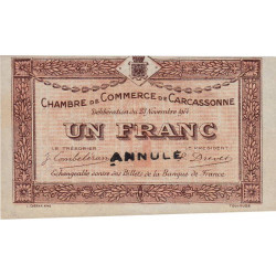 Carcassonne - Pirot 38-7 - 1 franc - Annulé - 1914 - Etat : SPL