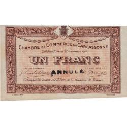 Carcassonne - Pirot 38-7 variété - 1 franc - 1914 - Annulé - Etat : SPL