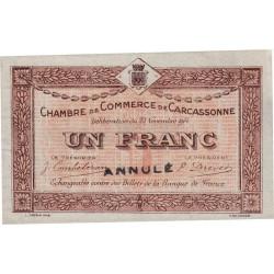 Carcassonne - Pirot 38-7 variété - 1 franc - 1914 - Annulé - Etat : SUP+