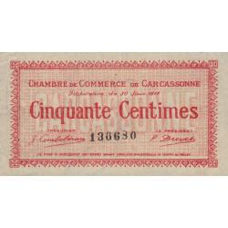 Carcassonne - Pirot 38-11 variété - 50 centimes - 1917 - Etat : SUP