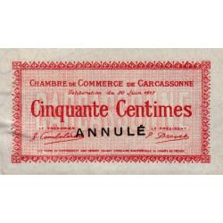 Carcassonne - Pirot 38-12 variété - 50 centimes - 1917 - Annulé - Etat : SUP+