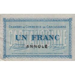 Carcassonne - Pirot 38-14 variété - 1 franc - 1917 - Annulé - Etat : TTB+