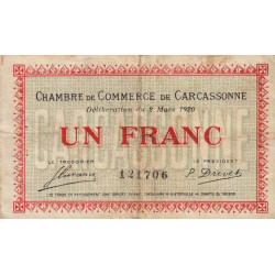 Carcassonne - Pirot 38-17 - 1 franc - Etat : B+