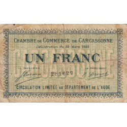 Carcassonne - Pirot 38-21 - 1 franc - 1922 - Etat : B